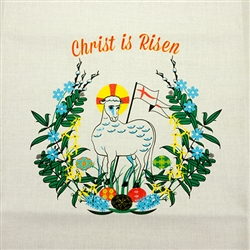 "Beautiful large rectangular printed Easter lamb basket or table cover.  Measures approx 28"" x 16"" - 71cm x 41cm.  100% cotton. Washing instructions included.