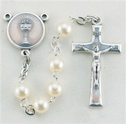 "16"" 5mm Imitation White Pearl Bead Rosary with a deluxe Crucifix and Center that is perfect for a First Communicant. It comes with a Clear Plastic Box"