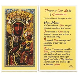 Our Lady of Czestochowa - Holy Card.  Plastic Coated. Picture is on the front, text is on the back of the card.