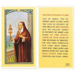 St. Clare - Holy Card.  Plastic Coated. Picture is on the front, text is on the back of the card.