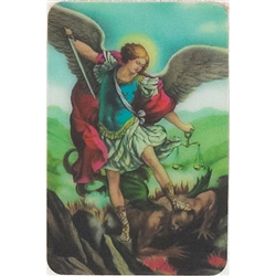 Two pictures appear when the card is moved. The first side has Saint Michael and the second side has the disappearing fallen angel.