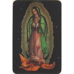 Two pictures appear when the card is moved. The first side has Our Lady of Guadalupel and the second side has