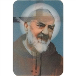 Two pictures appear when the card is moved. The first side has Padre Pio and the second side has the Crucifixion