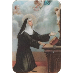 Two pictures appear when the card is moved. The first side has Saint Rita and the second side has appearing Angels.