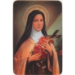 Two pictures appear when the card is moved. The first side has Saint Rita and the second side has appearing Roses.