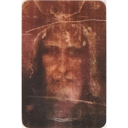 Two pictures appear when the card is moved. The first side has the Shroud of Turin and the second side has it appearing.
