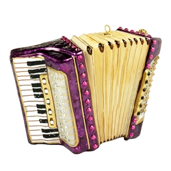 "Beautifully detailed glass accordion.  Size approx, 3.5"" x 2.5"" x 1""."