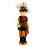 "Display your Polish heritage with this nicely detailed Polish dancer ornament dressed in his colorful Lowicz costume.  Size approx. 5.5"" x 2"" x 1.25"" - 14cm x 5cm x 3cm."