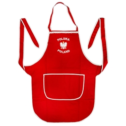 "A perfect gift for that special ""Pole""! A red and white kitchen apron with the words: ""Polska Poland"" and the Polish Eagle embroidered on the front panel. Feature a large double panel pocket.  Great for indoor use or that summer barbecue."
