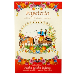 "Beautiful set of stationary decorated with Lowicz style Polish paper cut designs. Set includes 8 envelopes (two designs), 8 pieces of stationary (8 assorted designs) and a decorated gift folder with a Polish wedding scene. Stationary size 6.5"" x 9.25"" - 1"