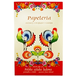 "Beautiful set of stationary decorated with Lowicz style Polish paper cut designs. Set includes 8 envelopes (two designs), 8 pieces of stationary (8 assorted designs) and a decorated gift folder. Stationary size 6.5"" x 9.25"" - 17cm x 23.5cm. Folder size 7."