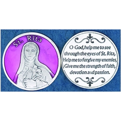Saint Rita Pink Enamel Pocket Token (Coin). Great for your pocket or coin purse.