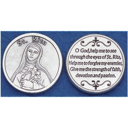 Saint Rita Pocket Token (Coin). Great for your pocket or coin purse.