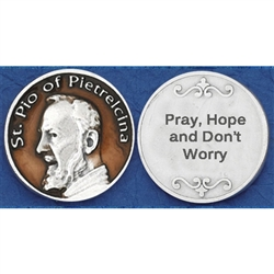 Saint Pio of Pietrelcina Brown Enameled Pocket Token (Coin). Great for your pocket or coin purse.