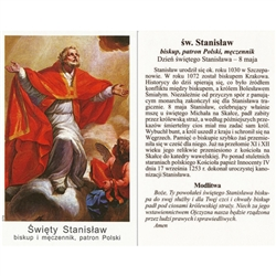 Sw Stanislaw - Polish - Swiety Stanislaw - Holy Card.  Plastic Coated. Picture is on the front, Polish text is on the back of the card.