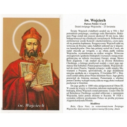 Sw Wojciech - Polish - Swiety Wojciech - Holy Card.  Plastic Coated. Picture is on the front, Polish text is on the back of the card.