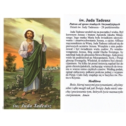 Sw Juda Tadeusz - Polish - Swiety Juda Tadeusz - Holy Card.  Plastic Coated. Picture is on the front, Polish text is on the back of the card.