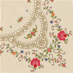 "Polish Folk Art Luncheon Napkins  ""Cross-stich Folklore"". Three ply napkins with water based paints used in the printing process. Use them to complement your Polish table settings. ""We employ and support disabled people, buying from us you help them live."