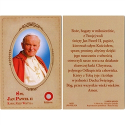 Saint John Paul II- Sw. Jan Pawel II Holy Card.   Holy Card Plastic Coated. Picture is on the front, Polish text is on the back of the card. This unique prayer card contains a third class relics on the front with the prayer on the back.
