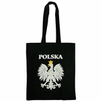 "Black 100% cotton tote bag made in Poland.  Size approx 14"" x 16"" - 35cm x 38cm not including the handles.  Handles are 12"" - 30cm long."