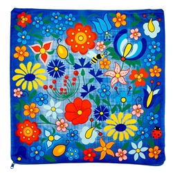 "Beautiful folk design pillow cover. 100% polyester and made in Poland. Zipper on one side. Size approx 15"" x 15"" - 38cm x 38cm."