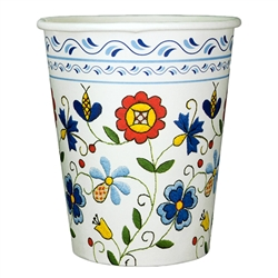 Polish paper cups featuring a traditional Polish Kaszub pattern. Perfect way to highlight a Polish floral design at school, home, picnic etc.