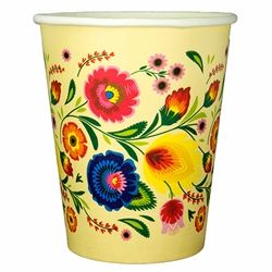 Polish paper cups featuring a traditional Polish papercut pattern. Perfect way to highlight a Polish floral design at school, home, picnic etc.