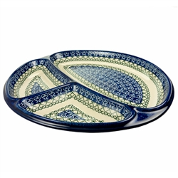 "Artist Initialed. This beautiful serving plate is divided into 3 sections. Size approx 10"" x 11"" 1.25"" - 25.5cm x 28cm x 3cm."
