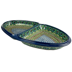"This beautiful serving plate is divided into 2 sections. Size approx 14.25"" x 8.25"" x 1.75"" - 36cm x 22cm x 4.5cm."