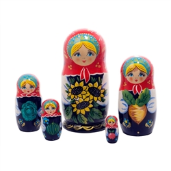 Straight off the Russian farm, the Sunflower Garden Nesting Doll carries a pretty bouquet of sunflowers, and has a bountiful garden harvest within.  When you open her, you'll find 4 more Russian maids carrying a different summer fruit or vegetable just