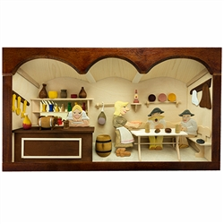 Poland has a long history of craftsmen working with wood in southern Poland. Their workshops produce beautiful hand made boxes, plates and carvings. This shadow box is a look inside a traditional Polish country tavern.