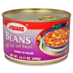 Pork and beans Polish style in a pull top can. Just open the can, put on a plate, heat and serve.