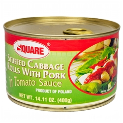 Traditional Polish stuffed cabbage in pull top can.  Just open the can, put the golabki on a plate and heat and serve.