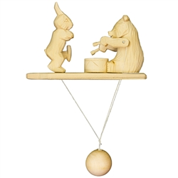 Wooden spin toy from Russia that will bring smiles to all who try it! This bear and hare are a perfect example of an old fashioned action toy. Traditionally hand made by parents and grandparents for their children that's also perfect for displaying around