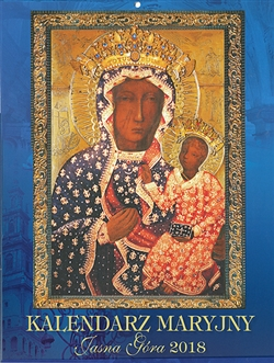 Calendar is published in Czestochowa Poland by the Pauline Fathers. Includes a variety of paintings and statues of Our Lady throughout Poland.  Beautiful full color glossy photographs with U.S. layout (Sunday is the first day of the week with Saint's name