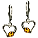 Heart Shaped Silver And Amber Earrings 1""