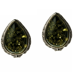 "Artistic tear drop shaped silver earrings with a center of green colored amber. Size approx .6"" x .5""."
