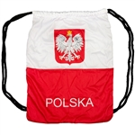 "Great way to display your heritage with this backpack in the colors of the Polish flag.  100% soft polyester.  Size approx 14"" x 17""."