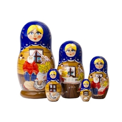 The Spotted Hen nesting Doll tells a Russian fairytale about a poor and old peasant couple whose hen lays a golden egg.  What should they do with it?  This colorful matryoshka nesting doll comes with the story booklet so you can find out what happens.