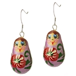 Hand painted Matrushka earrings with sterling silver french hooks. Assorted colors.