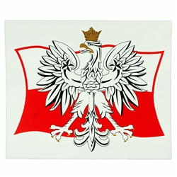 Waterproof indoor/outdoor sticker perfect for a heritage room display or elsewhere. The White Eagle is the national coat of arms of Poland. It is a stylized white eagle with a golden beak and talons, and wearing a golden crown