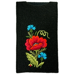 Soft black felt sewn case with hand embroidered Lowicz flowers on one side. Beautiful and functional. . Designed to fit Smart phones.