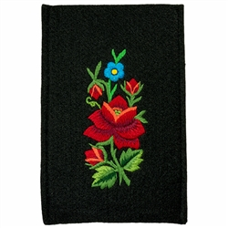 "Soft black felt sewn case with hand embroidered Lowicz folk flowers on one side. Beautiful and functional. . Designed to fit large IPhones. Size - 4.5"" x 6.75"" - 11.5cm x 17cm - Interior size 4"" x 6.5"" - 10cm x 16.5cm."