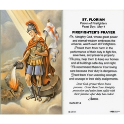 Saint Florian Holy Card (Prayer) English.  Saint Florian is the patron saint of firefighters.