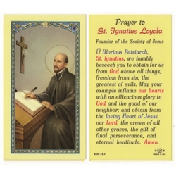 St. Ignatius Loyola - Holy Card.  Holy Card Plastic Coated. Picture is on the front, text is on the back of the card.