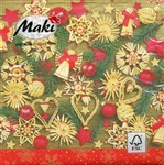 "Polish Folk Art Luncheon Napkins (package of 20) - ""Christmas Art"".  Three ply napkins with water based paints used in the printing process."
