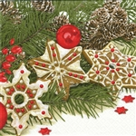 "Polish Folk Art Luncheon Napkins (package of 20) - ""Gingerbread Stars"" Three ply napkins with water based paints used in the printing process."