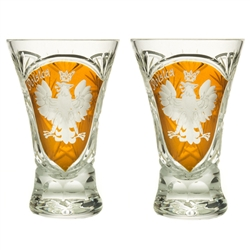 "Genuine Polish 24% lead crystal hand cut and engraved with the Polish Eagle and the word Polska. Set of 2. Size is 3.25"" - 7.8cm tall."
