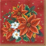 "Polish Folk Art Luncheon Napkins (package of 20) - ""Poinsettias"". Three ply napkins with water based paints used in the printing process."