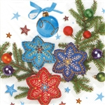 "Polish Folk Art Luncheon Napkins (package of 20) - ""Folk Snowflakes"". Three ply napkins with water based paints used in the printing process."